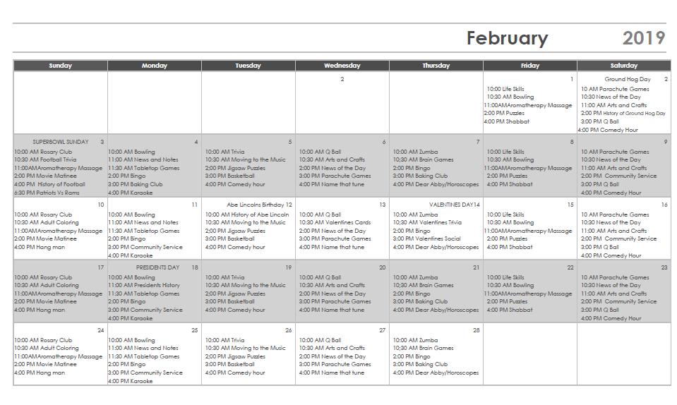 February Activity Calendar